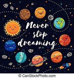 motivatie, nooit, stoppen, illustratie, vector, dreaming.
