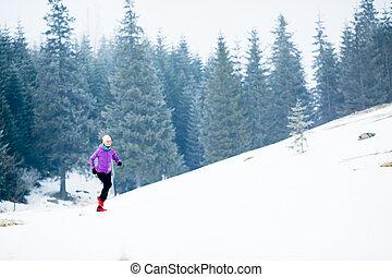 motivatie, winter, jogging, rennende , vrouw, inspiratie