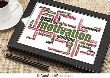 motivatie, woord, wolk