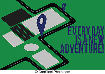 motivation, épingle, texte, signe, locator, marqueur, ton, adventure., début, photo, conceptuel, nouveau, 3d, carte, direction, projection, jours, navigation, parcours, jours, positivism, advisory., route