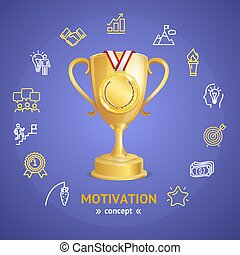 Motivation and Productivity Concept with Golden Cup. Vector