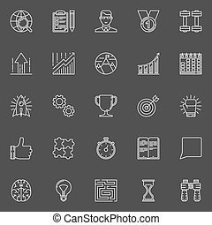 Motivation and success line icons