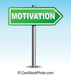 Vector illustration of motivation arrow sign on sky background