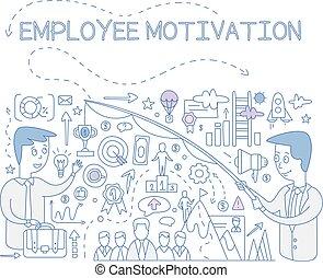 motivation, bannière, reussite, concept, affiche, illustration, élément, carrière, vecteur, conception, employé, dessiné, buts, main, accomplir