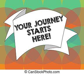 motivation, begriff, farbe foto, streifen, leer, dein, geschenkband, gefaltet, schreibende, text, 3d, geschaeftswelt, reise, celebration., inspiration, wort, fest, anfänge, here., beginnen, schärpe