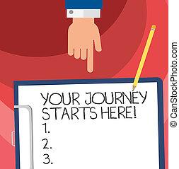 motivation, begriff, zeigen, text, unten, papier, leer, dein, schreibende, klemmbrett, pencil., geschaeftswelt, hu, reise, hand, inspiration, wort, anfänge, analyse, here., beginnen, bindung