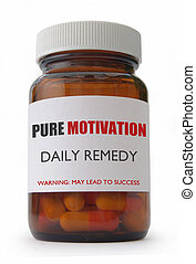 Motivation concept - Capsule container labeled with ...