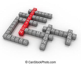 motivation, concept, illustration, wordcloud, fond, 3d