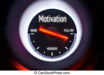 Motivation Concept - Motivation concept displayed on a gauge
