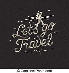 motivation, concept, rocheux, terrain., sac à dos, voyage, randonneur, aller, lets, aventure, croisement