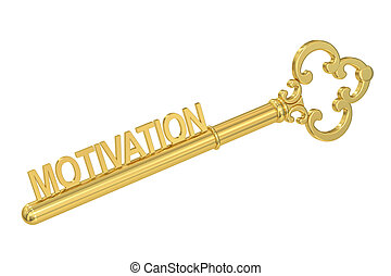 Motivation concept with golden key, 3D rendering