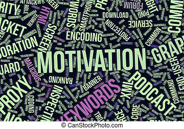Motivation, conceptual word cloud for business, information technology or IT.