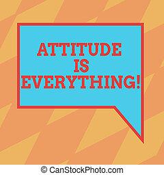 motivation, droit, photo, bulle, couleur, texte, main., optimisme, signe, attitude, réussir, parole, vide, conceptuel, everything., rectangulaire, frontière, projection, important, inspiration