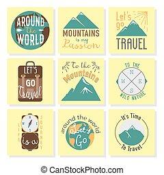 motivation, emblème, nature, vendange, voyage, typographie, illustration, vecteur, aventure, écusson