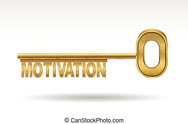 motivation - golden key isolated on white background