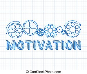 Motivation Graph Paper - Motivation text with gear wheels...
