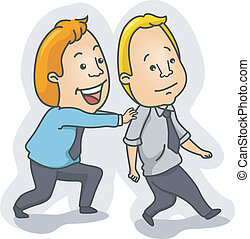 Motivation - Illustration of a Man Pushing Another Man...