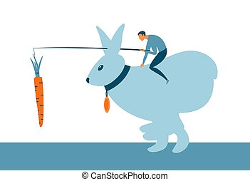 Motivation incentive business concept. Man sitting on a bunny and holding a carrot in front of animal. Vector
