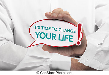 Motivation message, Life Change - Image of a man hand...