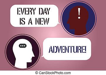 motivation, photo, bavarder, écriture, ton, punctuations, note, têtes, marque, adventure., début, parole, nouvelles affaires, projection, chaque, bulles, jour, salle, jours, messager, showcasing, icon., positivism