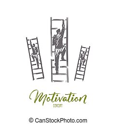 Motivation, stairs, success, career, goal concept. Hand drawn isolated vector.