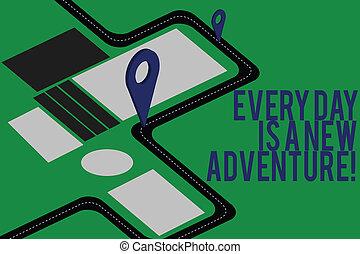 motivation, stift, text, zeichen, locator, markierung, dein, adventure., start, foto, begrifflich, neu , 3d, landkarte, richtung, ausstellung, jeden tag, schifffahrt, strecke, tage, positivism, advisory., straße
