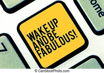 motivation, tastenfeld, wesen, foto, ermutigung, computertastatur, nachricht, schaffen, schreibende, merkzettel, intention, fabulous., sein, geschaeftswelt, ausstellung, aufwachen, schlüssel, inspiration, groß, auf, idea., drücken, showcasing