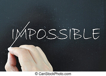 The word impossible crossed out to reveal possible