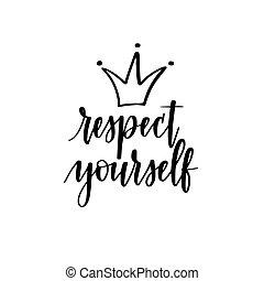 motivation, vous-même, vecteur, conception, inspirationnel, respect, calligraphie