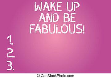 motivation, wesen, foto, ermutigung, form, schreiben farbe, fabulous., text, begrifflich, center., sein, geschaeftswelt, ausstellung, hand, balken, aufwachen, inspiration, groß, grobdarstellung, auf, rechteckig, runder