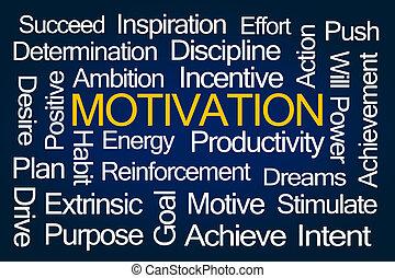 Motivation Word Cloud on Blue Background
