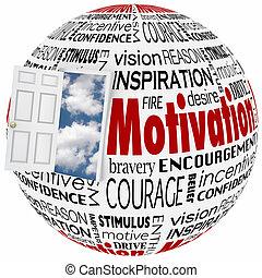 Motivation Word Globe Open Door Opportunity Achieve Inspiration Success