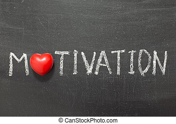 motivation word handwritten on chalkboard with heart symbol...