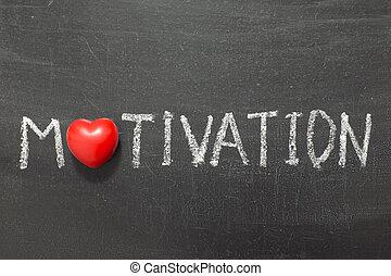 motivation word handwritten on chalkboard with heart symbol ...