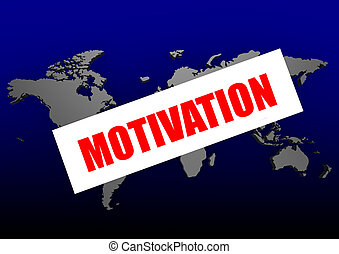 Motivation word on the blue world m