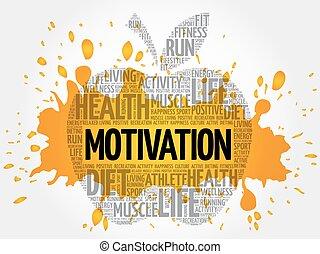 motivation, wort, apfel, wolke