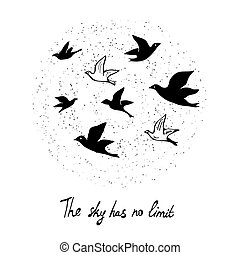 Motivational card for freedom concept with birds in the sky,...