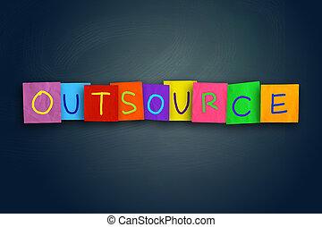 motivational, citação, outsourcing, conceito, palavras