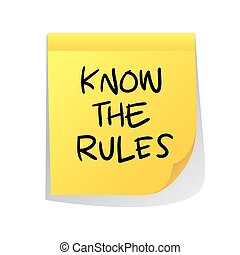 Motivational concept vector illustration of sticky paper with Know The Rules words written on it