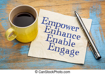 empower, enhance, enable and engage - motivational...
