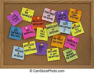 motivational, mahnungen, anschlagtafel