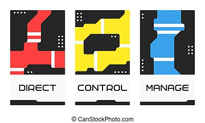 Motivational poster with lettering: direct, control, manage. Modern wording design. Set of three vector illustrations. Flat art design.