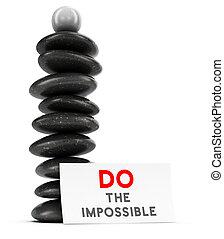 Motivational Quote Concept - Nine pebbles plus a spherical...