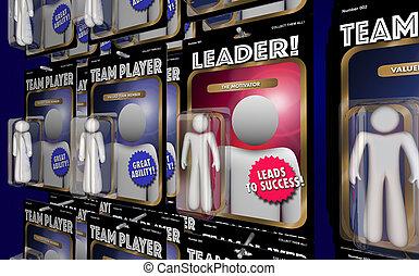 motivator, figuur, illustratie, directeur, team, actie, leider, 3d