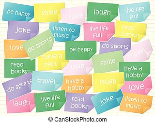 motivazionale, concetto, adesivi, ottimismo, frasi