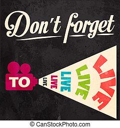 motivazionale, fondo, dimenticare, live!, non faccia