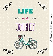 motivazionale, tipografico, jorney, vita, citare, fondo
