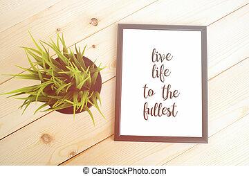 motivazione, citazione, -, vita, fullest., vivere, inspirational