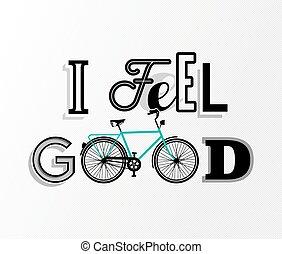 motivazione, concetto, bicicletta, testo, bicicletta, retro, manifesto