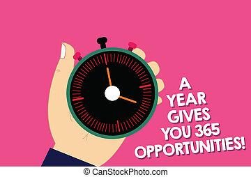 motivazione, concetto, testo, analisi, anno, tuo, scrittura, inizio, presa a terra, opportunities., nuovo, 365, dà, fermi orologio, mano, significato, hu, ispirazione, button., timer, meccanico, fresco, scrittura